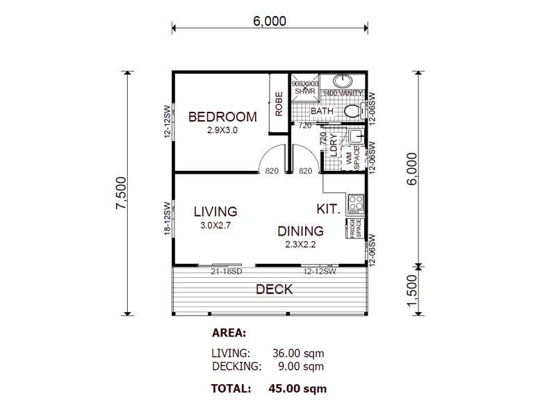 Kit home designs floor plans for Granny flat floor plans 1 bedroom